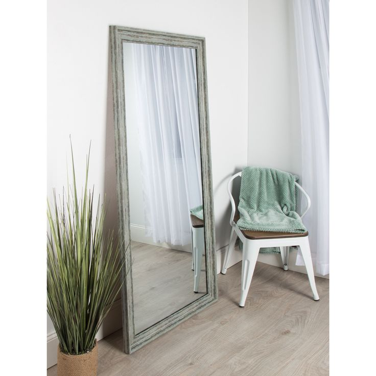 Kate and Laurel McKinley Framed Beveled Wall Mirror (26.5x32.5 Distressed Soft Teal Framed Mirror), Blue/Green