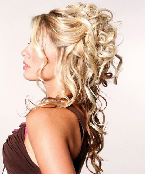 blonde curly half updo