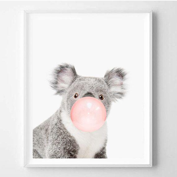 Koala print nursery art koala wall art animal by for Cute wall hangings