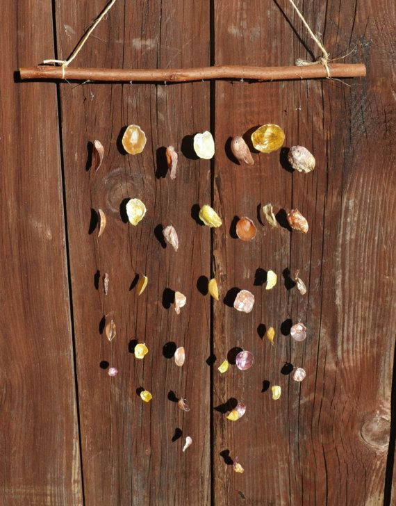 SALE!! Shell Wind Chime, Shell Mobile, yellow and pink shell decoration, beach decor, beach style wall hanging