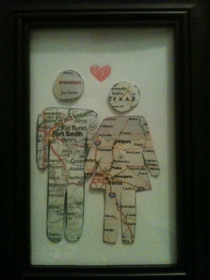 6 month anniversary gift!! Where he was born( city and state) & where I was born (city and state)