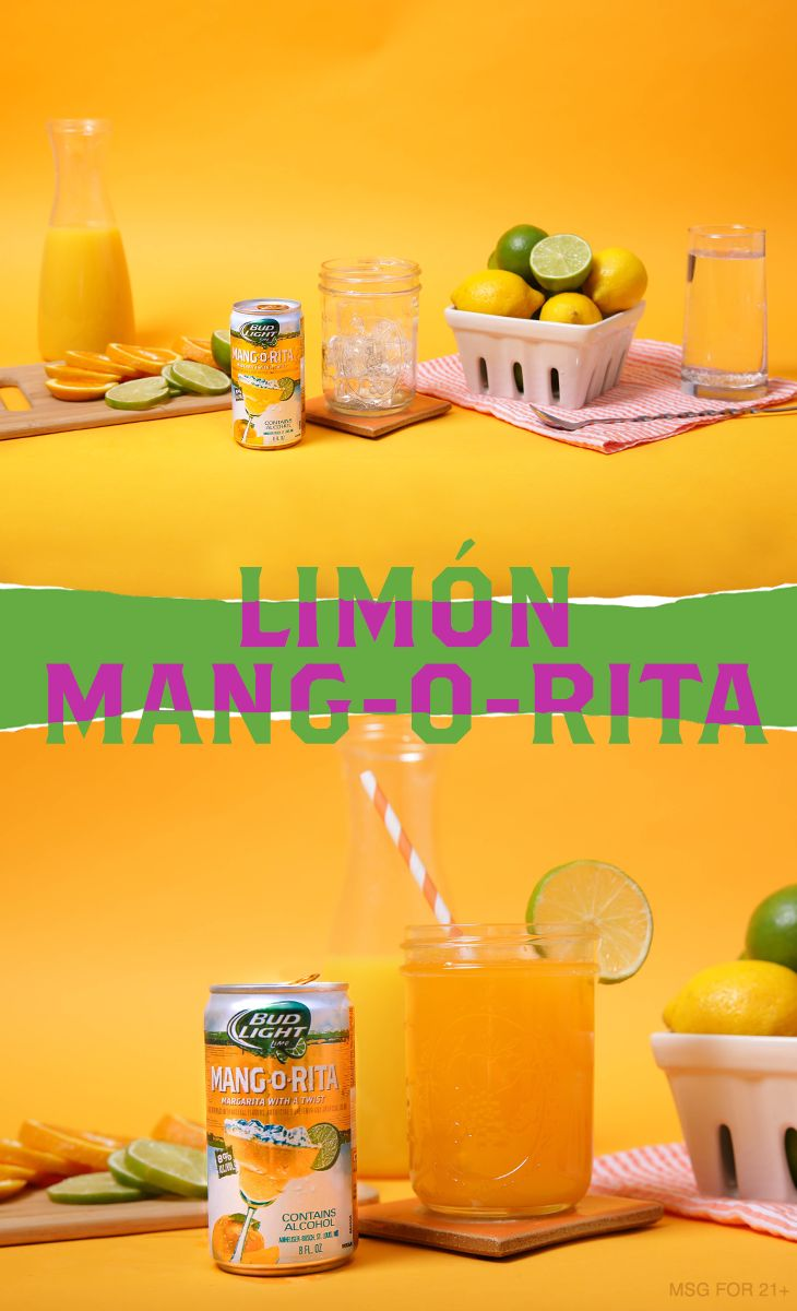 This homemade lemon-lime drink recipe is sure to keep your fiesta guests fresh. 1) Combine orange juice and lemon lime soda into glass with ice. 2) Add Mang-O-Rita. 3) Stir, garnish and serve.