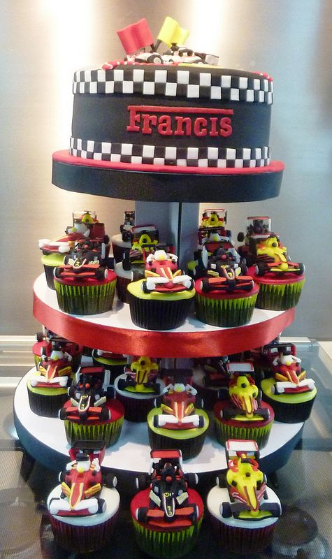 formula 1 cupcake tower
