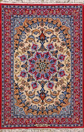 """Esfahan Persian Rug, Buy Handmade Esfahan Persian Rug 2' 4"""" x 3' 5"""", Authentic Persian Rug"""