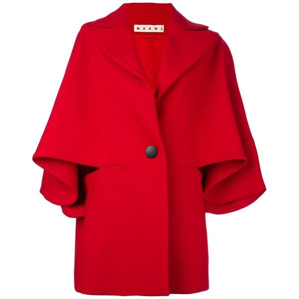 Marni Cape Sleeve Jacket ($2,890) ❤ liked on Polyvore featuring outerwear, jackets, red, marni, red cape, cape sleeve jacket, cape coat and marni jacket