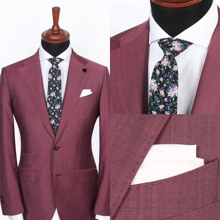 The Lecce burgundy jacket over the Herringbone shirt, paired with a Black and pink floral tie and White silk pocket square. Could you pull this look off?  www.Grandfrank.com