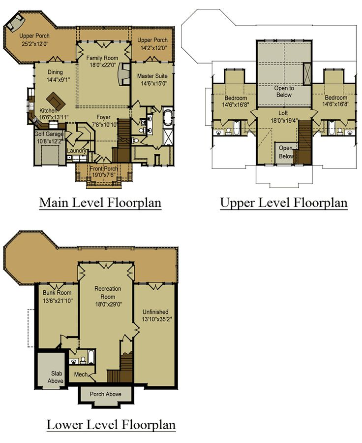 good floor plans for mountain homes #4: 3 Story Open Mountain House Floor Plan