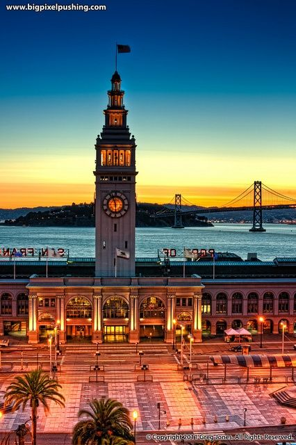 Sunrise over the Port of San Francisco, California. I had a similar view from the Embarcadero hotel!!