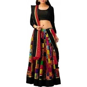 D& J Designer Black Silk Printed Work Lehenga Choli