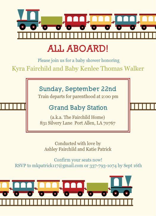 Baby Train Baby Shower Invite