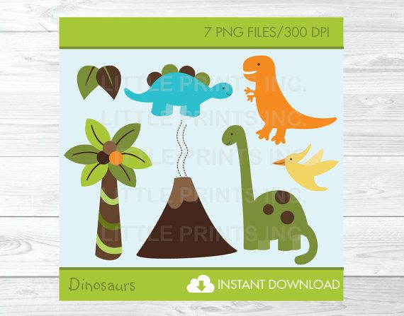 dinosaur clipart instant download by littleprintsparties