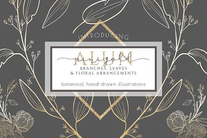 Floral clipart, leaf branches, hand drawn illustrations gold