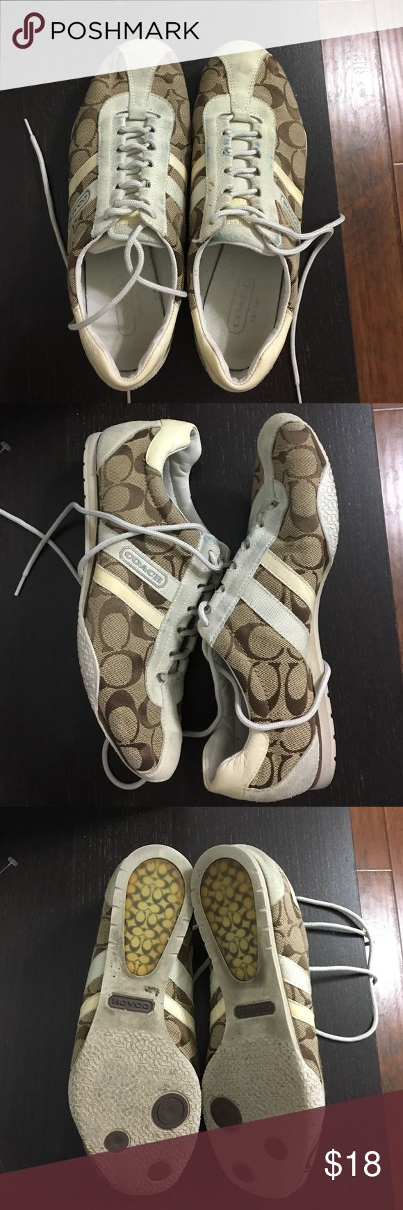 Coach tennis shoes Coach tennis shoes, have signs of wear please see the photos. Still have lots of life left, priced to sell! Coach Shoes Sneakers