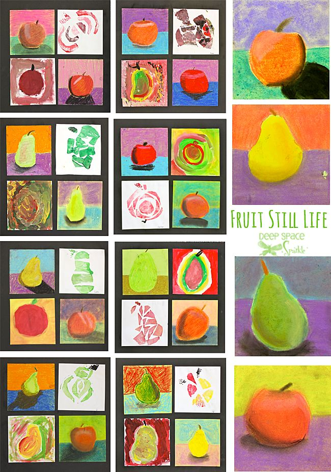4 media studies: Fruit-Still-Life-art-lesson oil pastel, chalk pastel, tempera, friendly foam collagraph