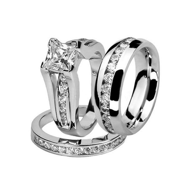 Marimor Jewelry His And Hers Stainless Steel Princess Wedding Ring Set And Eternity Wedding Band Women S Size 10 Men S 04mm Size 04 5 Walmart Com Wedding Ring Sets Couple Wedding Rings