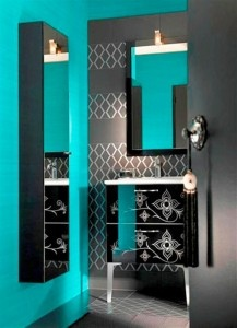 Black and turquoise bathroom idea turquoise pinterest for Teal and grey bathroom sets