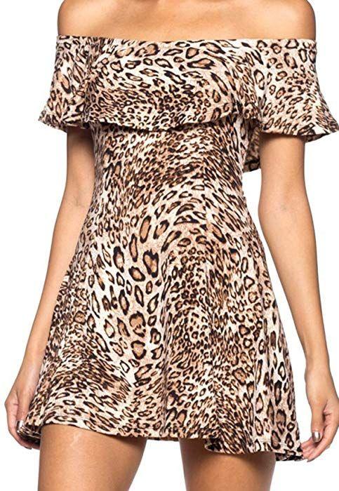 aae94e1708b Simply Savvy Co USA - Flared Off Shoulder Leopard Cheetah Animal ...