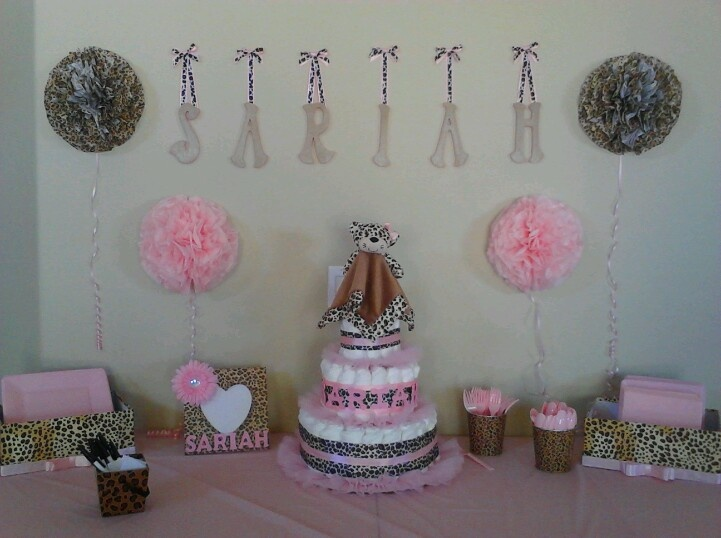Cheetah print and pink baby shower decorations baby shower ideas pinterest pink baby - Cheetah print centerpieces ...