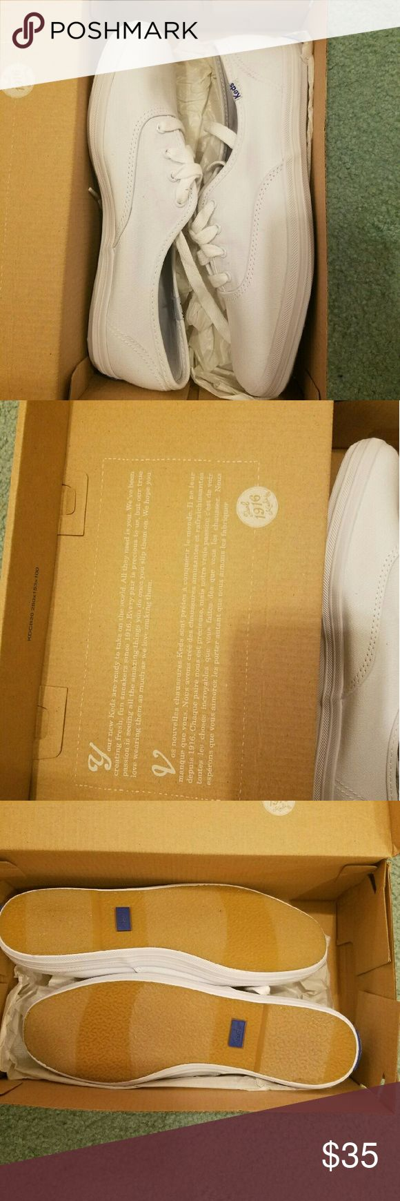 Brand new white Keds! Brand new white Keds I got a while back. They're super cute and comfy but alas, they're too small for my feet ): never worn, only tried on. MUST GO!! PLEASE MAKE OFFERS!!! Keds Shoes Sneakers