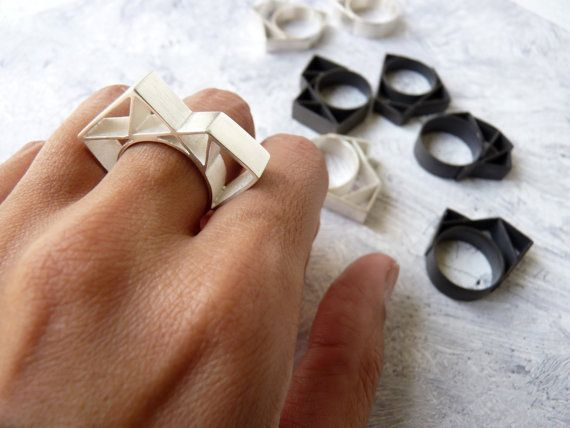 RING sterling silver contemporary jewelry geometric - Angular Collection. €60.00, via Etsy.