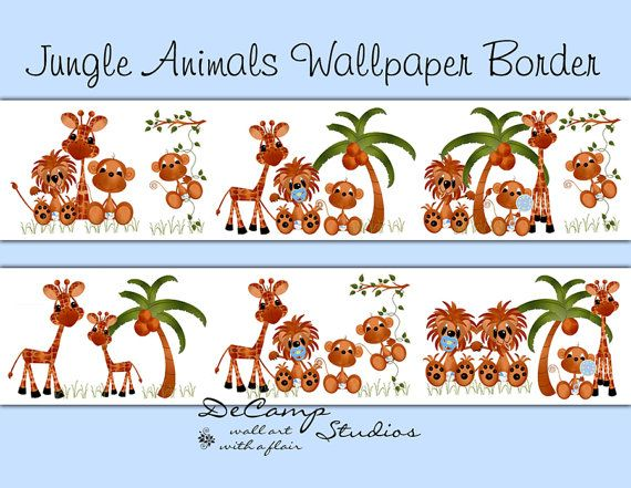 JUNGLE ANIMALS WALLPAPER wall art border decals for baby boy zoo nursery or children's safari room decor #decampstudios
