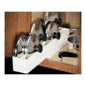 pot/ pan lid organizer. could use plastic guttering