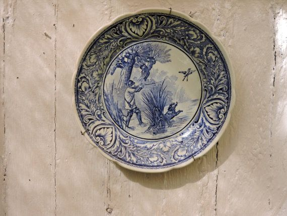 Delft Pottery Plate - Vintage Boch Plate - Wall Hanging Decorative Delft Blue Plate - Folk Art Blue Plate Hunting Scene