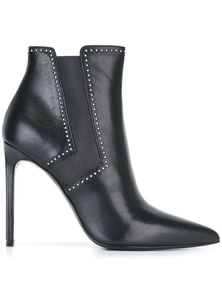 Saint Laurent Ankle boot de couro com tachas
