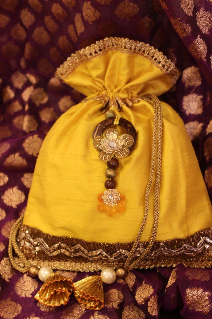 yellow raw silk potli bag! Indian ethnic bag!!