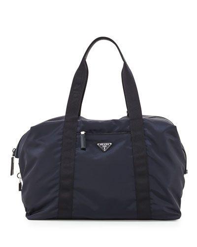 PRADA MEN'S NYLON & SAFFIANO DUFFEL BAG, BLUE. #prada #bags #tote #leather #lining #travel bags #hand bags #nylon #weekend #