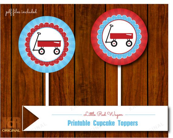 Little Red Wagon Cupcake Toppers // Little Red by karoriginal