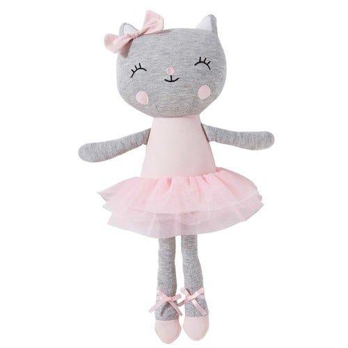 Gato bailarina de peluche de algodón H. 40 cm ZOÉ