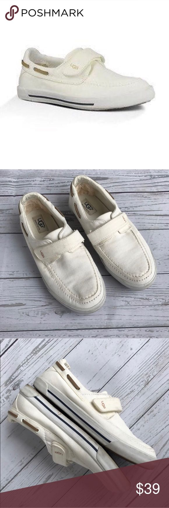 UGG cream half hitch canvas boat shoes youth 3 Authentic UGGs need a little cleaning, can also fit like a women's sz 5.5-6. They resemble a Sperry style boat show. Comes from a smoke free pet free home UGG Shoes