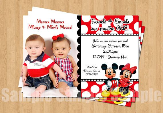 Minnie Mickey Mouse Twins Birthday Party by my3sweetcheeks on Etsy, $10.00
