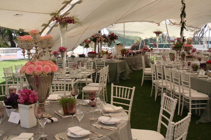 Summer Garden Wedding Roses in Silver Urns