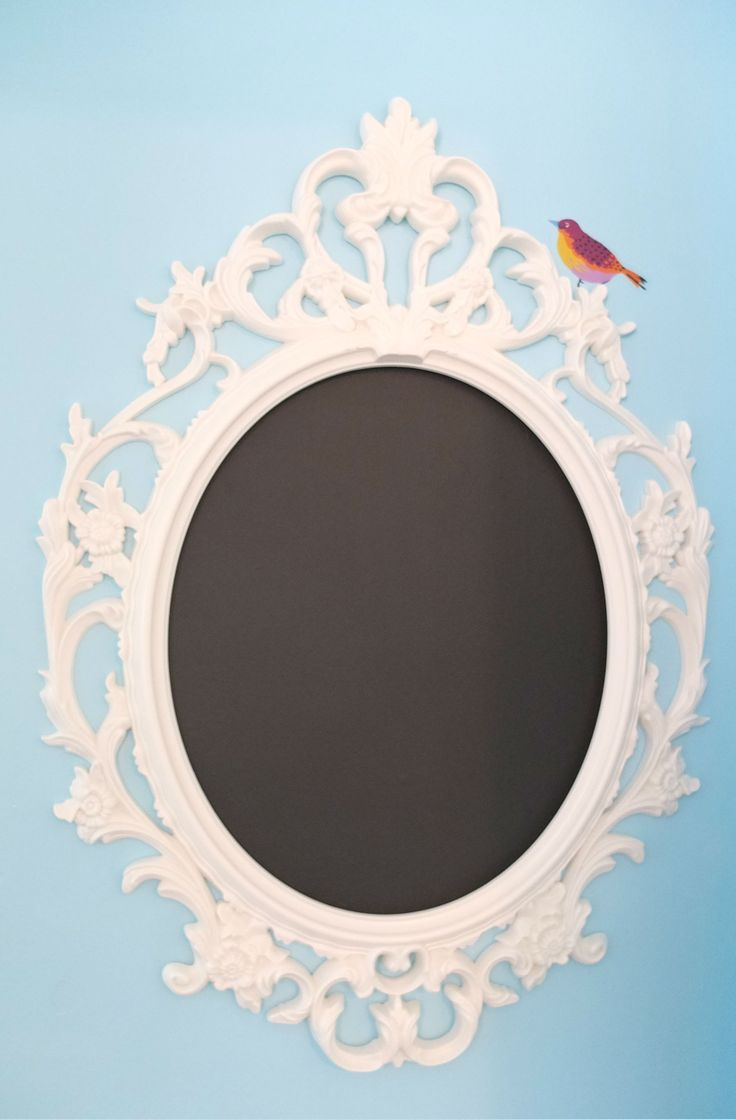 Ung drill frame oval white guest rooms birds and for Miroir ung drill