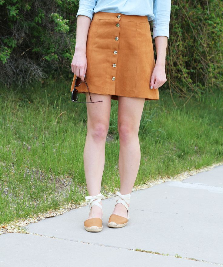 Tan button-front suede skirt outfit and Soludos leather lace-up espadrilles