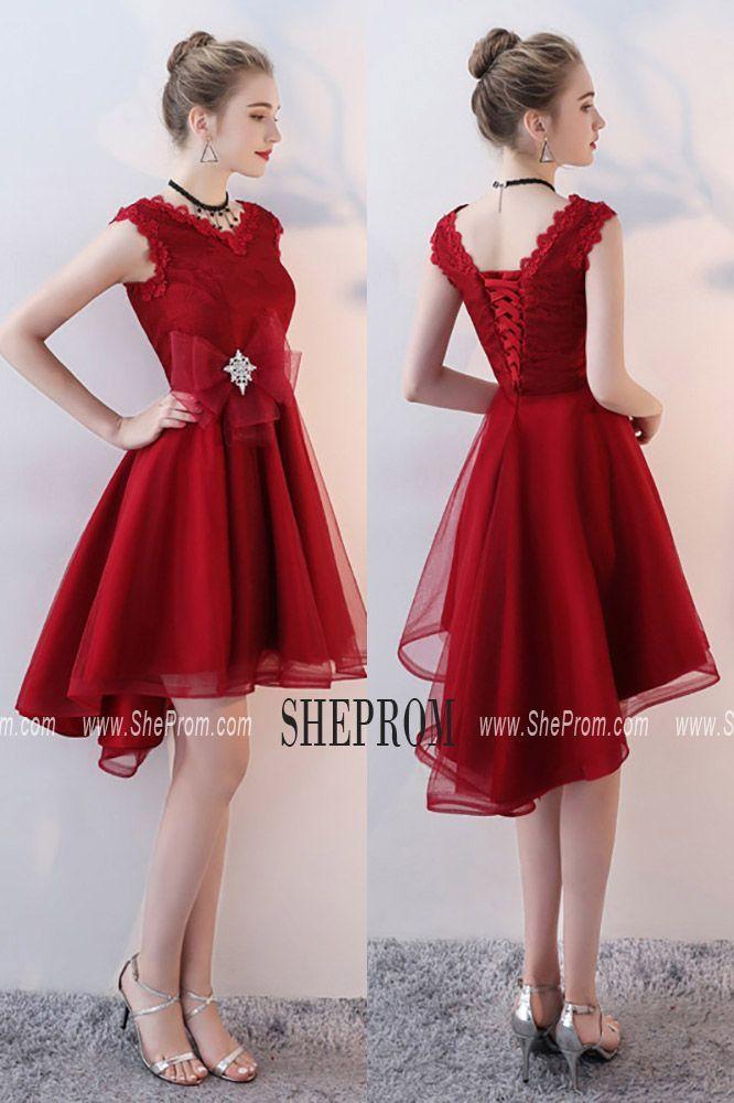 e37e7ff11e Burgundy Short Homecoming Dress V-neck with Ruffles BLS86118 at  SheProm.  Shop thousands