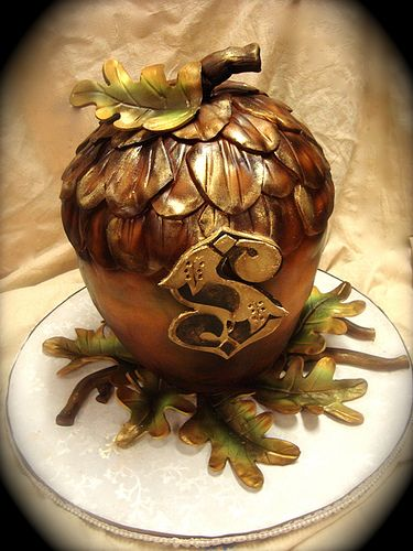 Steampunk Acorn Cake, by Debbie Does Cakes.  This would be fabulous for our opening night, yes??  (We are Little Acorn Books.)