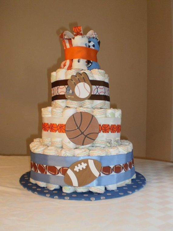 Sports Theme Baby Shower Decorations | Sports Theme Diaper Cake by pasilva on Etsy, ... | Baby shower ideas