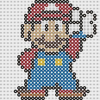 Plantilla Hama Mario Bros saludando www.tuburbuja.es