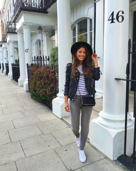 Mimi Ikonn | Gray skinny jeans with black faux leather jacket, white sneakers, black hat & Stella McCartney Falabella mini bag | OOTD