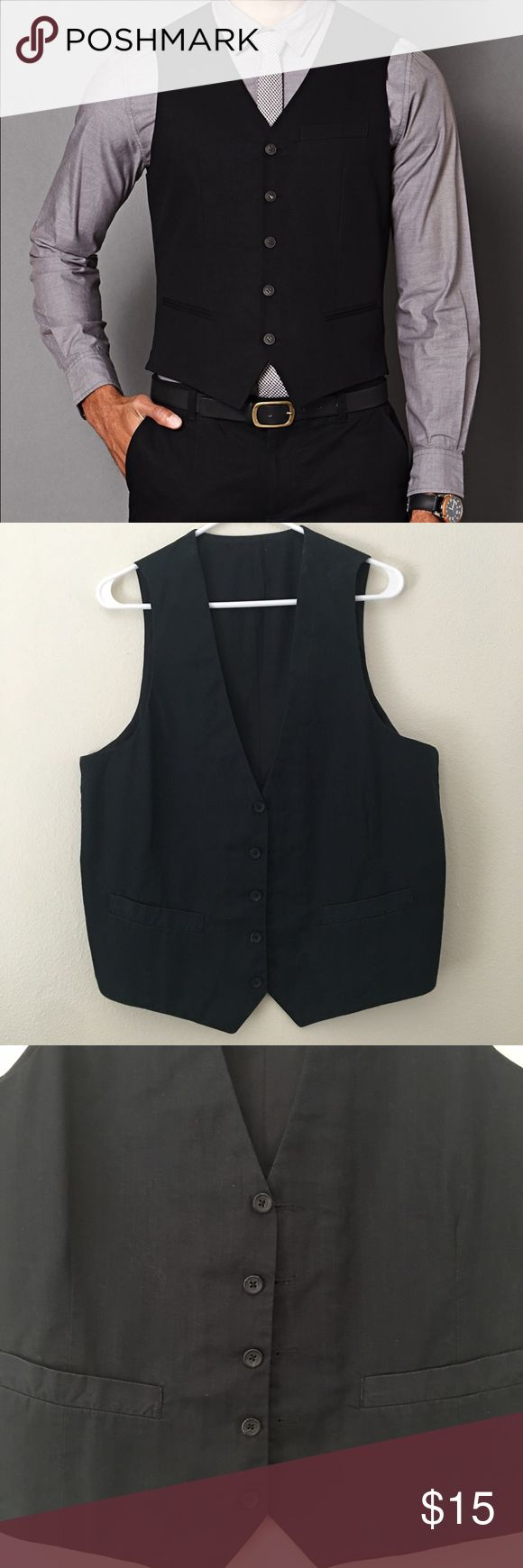 Men's casual vest Men's casual vest from Gap. Black cotton blend. First photo for styling suggestion only. A little dusty and faded from being in storage. Price reflects condition. No trades. No PayPal. GAP Jackets & Coats Vests