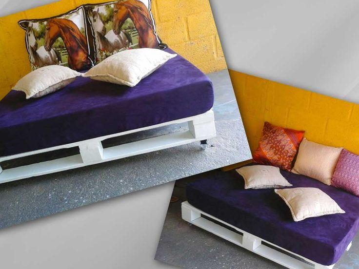 Sofá de pallets 1,00 x 1.30mt  c/ rodas silicone, espuma densidade 28 espessura com 15cm, tecido suede roxo.