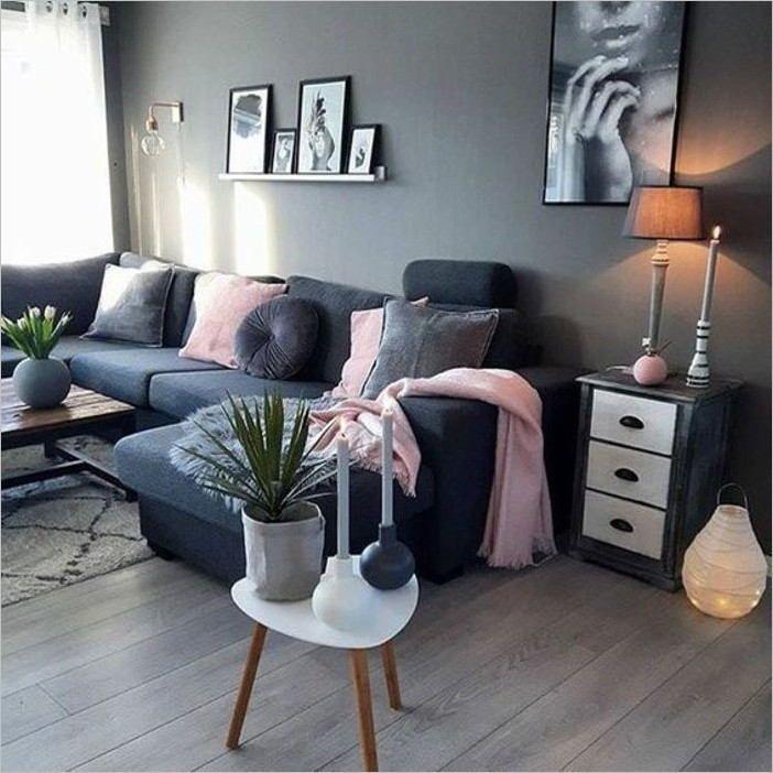 deco salon chic moderne gris fonce rose