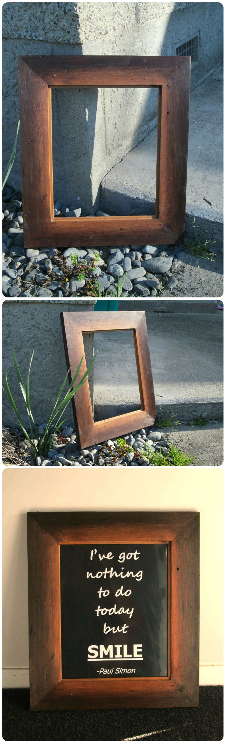 Rustic Photo frame made out of scrap rimu floorboards. Glued them up then went over it with a rough 40grit sandpaper. Used a dark oak stain around the outside and blended it into the middle. Finished with furniture oil to bring out the rimu colour.  I put a personalized quote on it and gave it away as a present. Came out awsome