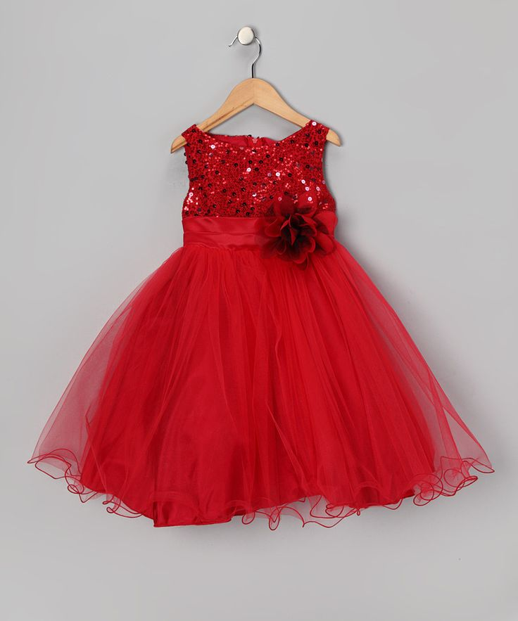 Take a look at this Red Sequin Sheer Dress - Toddler & Girls on zulily today!