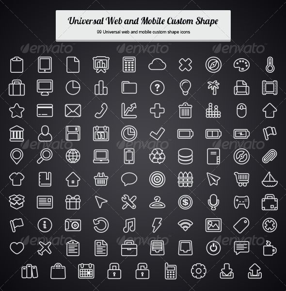 universal web and mobile custom shape | photoshop, vector shapes