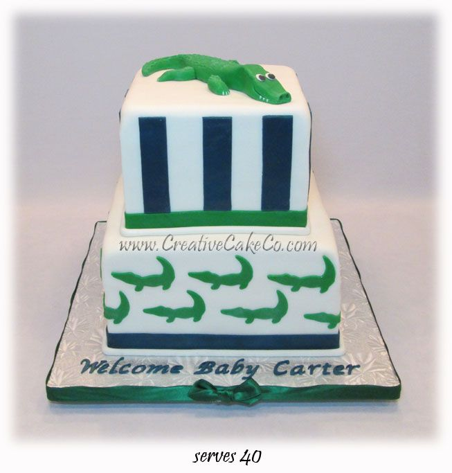 Alligator Themed Baby Shower Cake By Creative Cake Co So Many