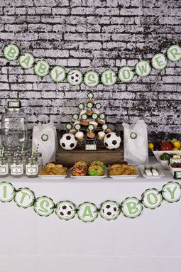 Soccer BABY SHOWER Banner It's a Boy Baby by getthepartystarted